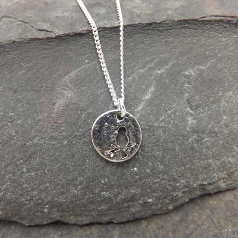 Silver bird disk necklace elizabeth jewelry silver bird disk necklace mozeypictures Image collections