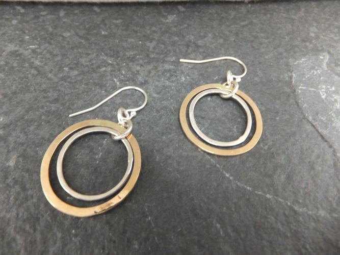 Hammered Medium Hoop Earrings
